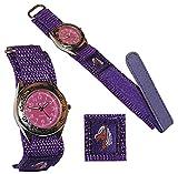 alles-meine.de GmbH Kinderuhr -  Pferd  - mit Klettband / Stoff Armband - lila - violett - Uhr Kinder Armbanduhr Tier Tiere Pferde Analog / Pferdeuhr