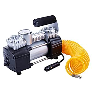 TIREWELL TW2003 Heavy Duty Double Cylinders Tyre Inflator with Battery Clamp and 5M Extension Air Hose for SUVs/Trucks/Vans/RVs