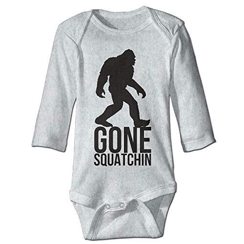 Unisex Newborn Bodysuits Big Foot Gone Squatchin Boys Babysuit Long Sleeve Jumpsuit Sunsuit Outfit Ash