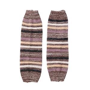 BESTOYARD Stulpen Herbst Winter Neue Streifen Gestrickte Wolle Warme Socken Ärmel Stiefel Leggings (Khaki)
