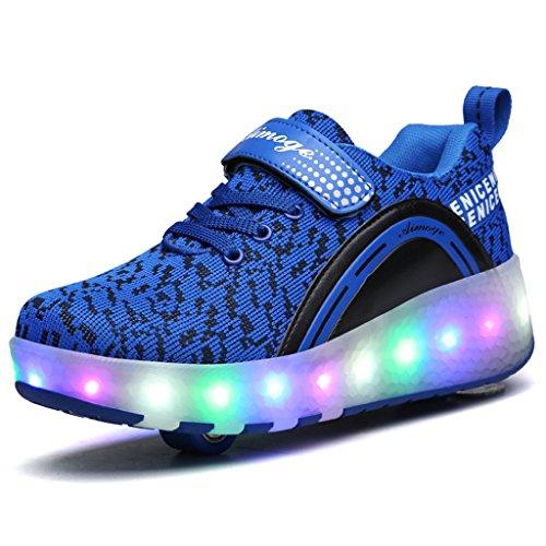 SGoodshoes Enfants Baskets LED Chaussures à Roulettes Sneakers Lumineuses Clignotante Chaussures de Sport avec Colorés Fille Garçon Bleu 2 roues