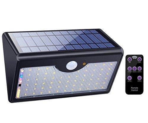 ECHTPower 60LED Solarleuchte außen Solarlampe Garten Wandleuchte mit Bewegungsmelder Fernbedienung, 1300LM, Wegbeleuchtung Aussenleuchte für Tür, Flur, Weg, Patio, Zaun, 5 Modi