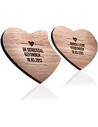 schenkYOU® HEART BEAT - Bierteller individuell graviert - Holz Untersetzer mit Ihrem Wunschtext graviert - individuelles Geschenk im 2er Set