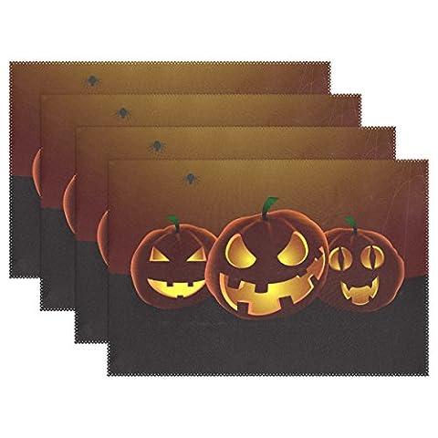 foncé trois citrouille Halloween Polyester Set de table par Bennigiry Sets de table, antidérapant résistant à la chaleur Isolation Tapis de sol pour cuisine, 1pcs, Polyester, multicolore, 12x18x1 in