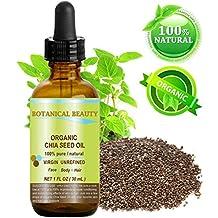 """Chia Öl BIO. 100% reine / natürliche / unverwässert / kalt gepresst Trägeröl für Haut, Haare, Lippen und Nagelpflege - 30 ml. """"Ein bemerkenswertes und stabile Quelle von Omega-3, 6, 9, B-Vitamine und Mineralien."""""""