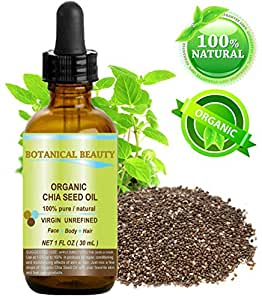"""CHIA SEED OIL ORGANIC. 100% Pure / Natural / Undiluted / Cold Pressed Carrier Oil For Skin, Hair, Lip And Nail Care. """"A Remarkable And Stable Source Of Omega-3,6,9, B-Vitamins And Minerals."""" 1 Fl.oz.- 30 ml by Botanical Beauty"""