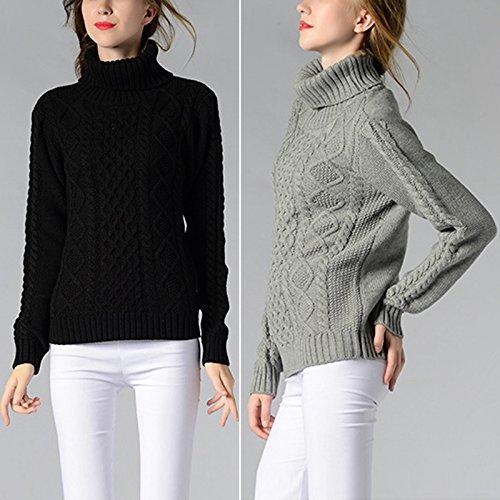 iBaste Pull col haut pour les femmes Tricots Tricots Pull mode avec manches longues couleur unie et simple Sweater for Women De lautomne et lhiver Noir