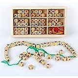 B&Julian Fädelbox Fädelspiel 130 Teile, große Buchstaben aus Holz und 3 Bunte Schnüre zum Basteln von Schmuck, Armbändern und Freundschaftsarmbändern. Holzspielzeug ab 3 Jahren