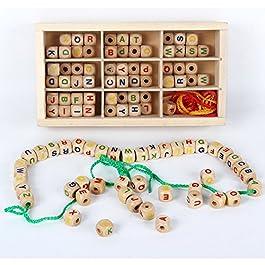 B&Julian Perline di Legno creativi Set di Perle Grande Lettere 130 Pezzi 3corde Colorate in Scat