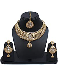 Lucky Jewellery Designer White Color Gold Plated Necklace Set For Girls & Women