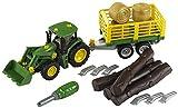 Theo Klein 3906 - Bau- und Konstruktionsspielzeug - John Deere Traktor mit Holz- und Heuwagen