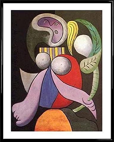 Pablo Picasso Poster Kunstdruck und Kunststoff-Rahmen - Femme Á La Fleur, 1932 (50 x 40cm)