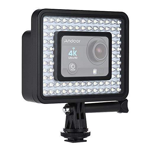 Andoer Action Kamera LED Ring Licht Dimmable 80er Perle Für GoPro Hero 4/3 / 3 SJCam Sport Camcorder (Ring-licht Camcorder Für)