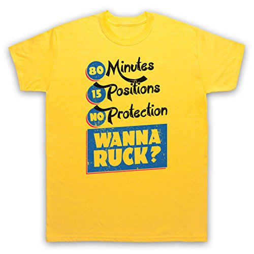 80 Minutes 15 Positions No Protection Wanna Ruck Funny Rugby Slogan Herren T-Shirt Gelb