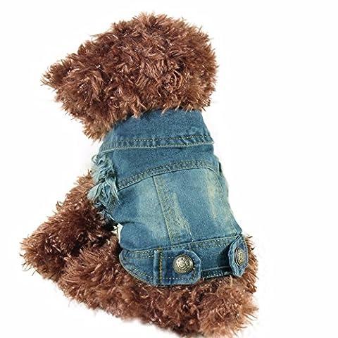 YiZYiF Hundeshirt, Hundekleidung Denim Hundemantel Weste Tank Top Cowboy Kostüm