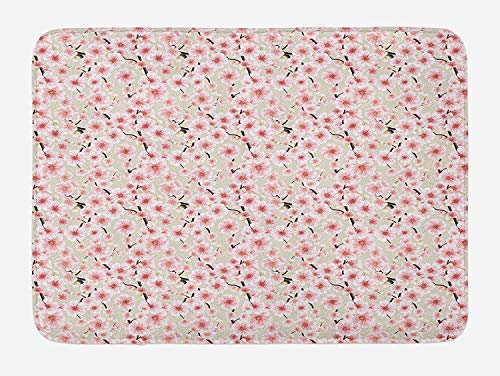 om Bath Mat, Japanese Flowers Symbolic of Spring in a Random Arrangement, Plush Bathroom Decor Mat with Non Slip Backing, 23.6 W X 15.7 W Inches, Coral Pale Green Brown ()