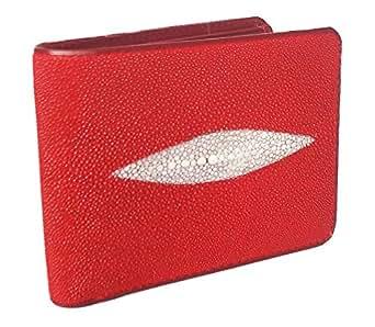Genuine Stingray Skin Leather Bi-Fold Wallet w/ Left Flap (Red)