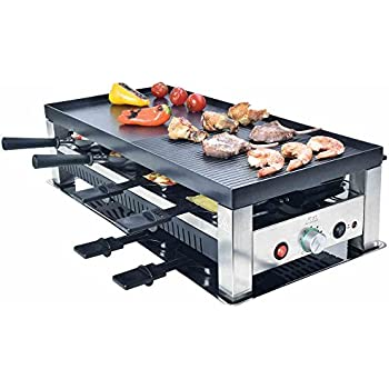 solis grill 5 in 1 raclette tischgrill wok cr pes pizza 8 personen edelstahl. Black Bedroom Furniture Sets. Home Design Ideas