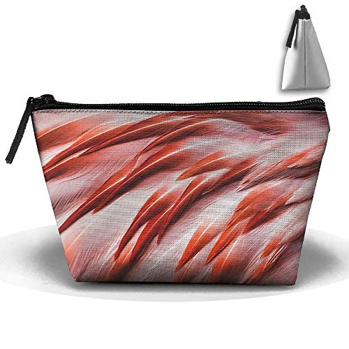 Trapezoidal Bag Makeup Bag Red Feathers Storage Portable Travel Wash Tote Zipper Wallet Handbag Carry Case