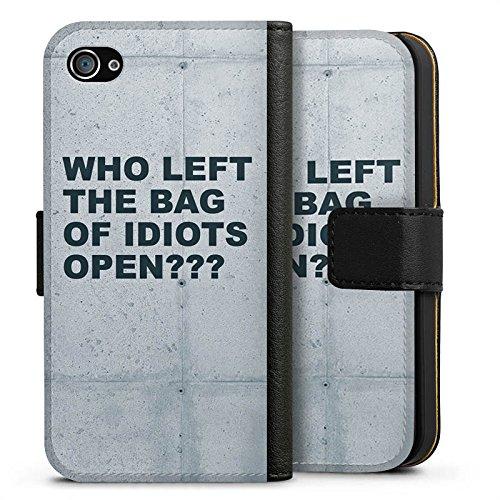 Apple iPhone X Silikon Hülle Case Schutzhülle Idiot Spruch Statement Sideflip Tasche schwarz