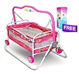 #10: Akshat Stroller Cradle Baby bed with swing feature for babies up to 18 months and Free Kids Feeding Bottle