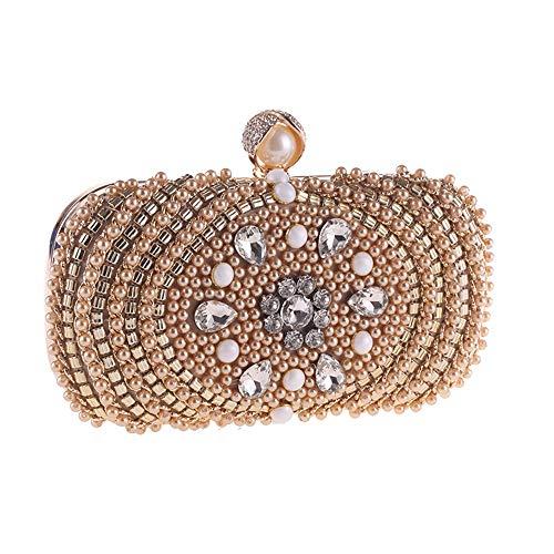 Tasche für Frauen Neue Perle Perlen Diamant Bankett Handtasche for Frauen European & American Fashion Individuelle Charakter Armband Schulter Kreuz Abend Pack Kristall Strass Tasche ( Farbe : Beige )
