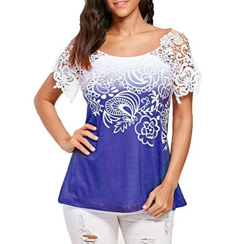 OVERDOSE Casual Damen Sommer T-Shirt Tops Bluse Spitzennähte Floral Bedruckte O-Ausschnitt Trim Frauen Oberteile(Blau,XL) Pink Floral Gold Trim