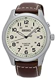 Seiko Kinetic Men's Quartz Watch with White Dial Analogue Display and Brown Leather SKA723P1