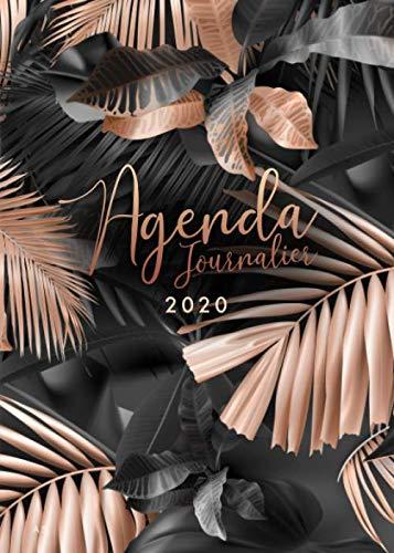 Agenda 2020: 12 mois journalier 2020 - format A5 - janvier à décembre 2020 - planificateur, semainier simple & graphique, motif Feuille de Palmier Tropical or rose et noir par Papeterie Collectif