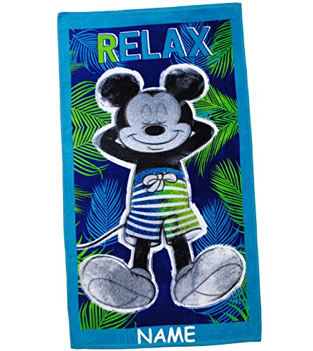 alles-meine.de GmbH Badetuch / Strandtuch -  Disney Mickey Mouse - Relax  - incl. Name - 70 cm * 140 cm - Frottee / Velours - 100 % Baumwolle - Handtuch - Mädchen & Jungen - 70..