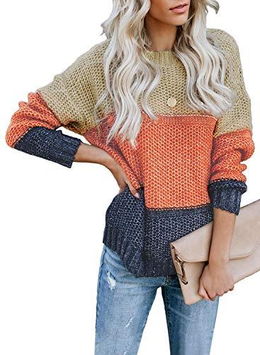 FIYOTE Damen Strickpullover Farbblock Pullover Casual Winter Sweater Sweatshirt Winter Bluse Streifenpullover 4 Farbe S/M/L/XL/XXL, 1-orange, Large(EU42-EU44)