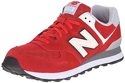 New Balance Men's ML574 Varsity Pack Classic Running Shoe, Red/Grey,