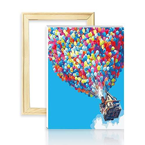 """decalmile Malen Nach Zahlen Kits DIY Leinwand Gemälde für Erwachsene Kinder Anfänger Bunter Ballon 16""""X 20"""" (40 x 50cm, Holzrahmen)"""