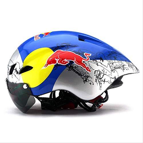 LOVEBIKE Fahrradhelm, Pneumatischer Helm Mit Windspiegel Mountainbike Rennrad, Geeignet Für Kopfumfang 56-62 cm Red Bull Coloring