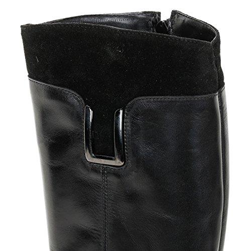 ALESYA by Scarpe&Scarpe - Bottes bi-matière avec accessoire, en Cuir, à Talons 4 cm Noir