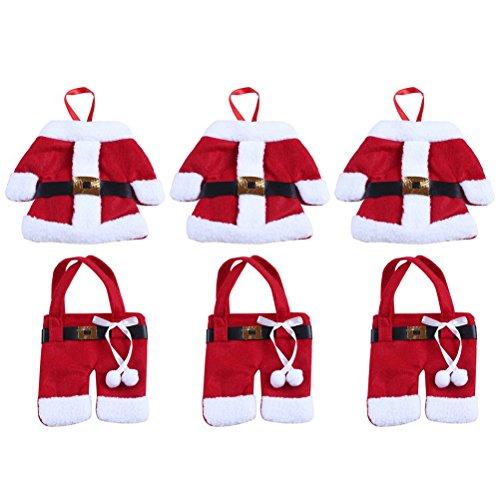 Porta posate natale OUNONA Tasche portaposate costume Babbo Natale per decorazione (6PCS)