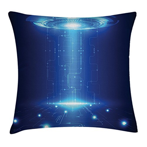 Outer Space Decor Werfen Kissenbezug, Cyberspace Umwelt in Kommunikation über Computer Netzwerk Bahnen Art Decor, dekorative quadratisch Accent Kissen Fall, 45,7x 45,7cm, blau