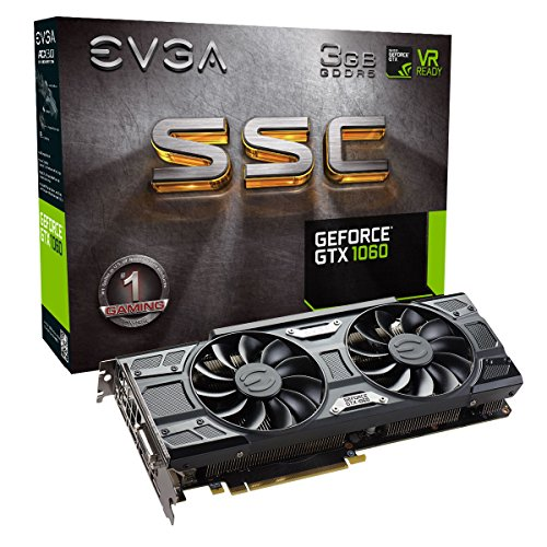 EVGA GeForce GTX 1060 -  Scheda video, 3 GB SSC, per gaming, ACX 3.0, GDDR5, LED Nero 3 GB