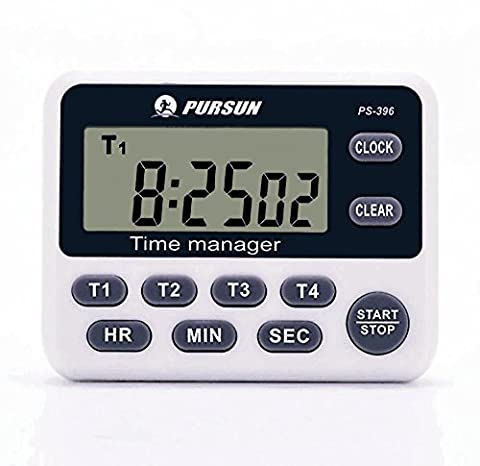 LCD Digital Kitchen Timer, 4 Channel with Count-Down Up Clock Loud Alarm Magnetic Back