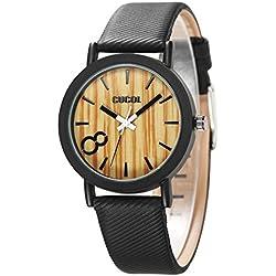 cucol Eco Faux Holz Ziffernblatt Leder Band Uhren für Männer und Frauen casual Stil Schwarz Farbe