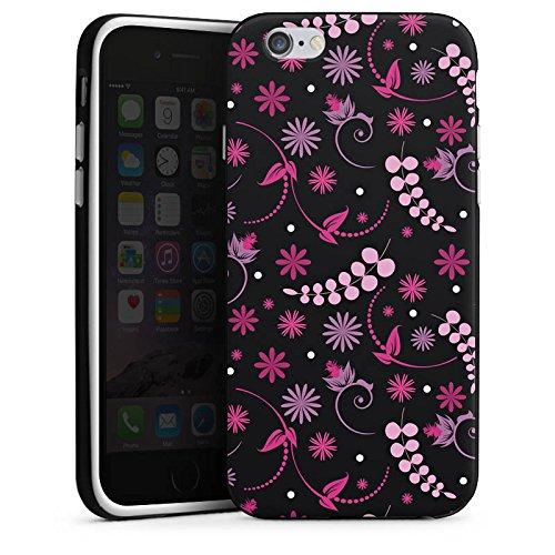 Apple iPhone 5s Housse Étui Protection Coque Petite fleur Fleurs Rose vif Housse en silicone noir / blanc