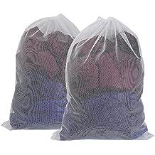 Vivifying grande Washing net Bags, set di 2durevole Coarse mesh lavanderia con coulisse con serratura per grandi abiti, copripiumino (bianco)
