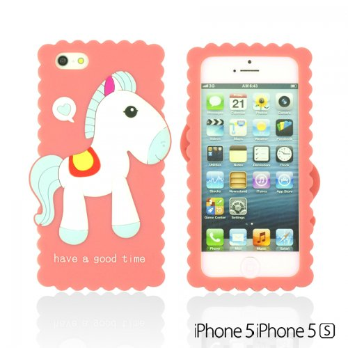 OnlineBestDigital - Horse Style 3D Soft Silicone Case / Housse pour Apple iPhone 5S / Apple iPhone 5 - rose rose