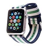 Premium Nato Apple Watch Armband für Apple-Watch | Für 42mm Apple Watch & 38mm Apple Watch inkl. Edelstahl-Adapter (42mm Band in Blau-Weiß-Grün-Weiß-Blau inkl. schwarzem Adapter)