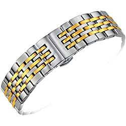 Premium Two Tone Stainless Steel Watch Band Metal 22mm Solid Links Curved or Straight Ends Silver and Gold Plated