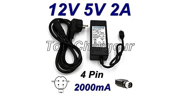 Adaptateur Secteur Alimentation Chargeur 12V 5V 2A 4 Pin pour Disque Dur Storex-Club MPIX-358HD TOP CHARGEUR