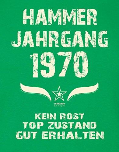 Geburtstagsgeschenk T-Shirt Herren Geschenk zum 47 .Geburtstag Hammer Jahrgang 1970 - auch in Übergrößen - Freizeitlook Männer Papa Farbe: hellgrün Hellgrün
