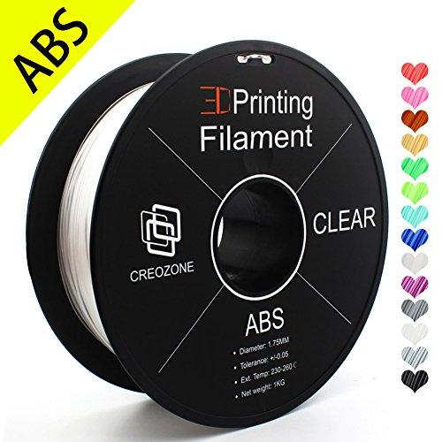 CREOZONE 3D ABS Filamento 1.75mm 1kg; Exactitud dimensional +/- 0.03 mm; Materiales de impresión 3D Suministros de impresión 3D (Claro)