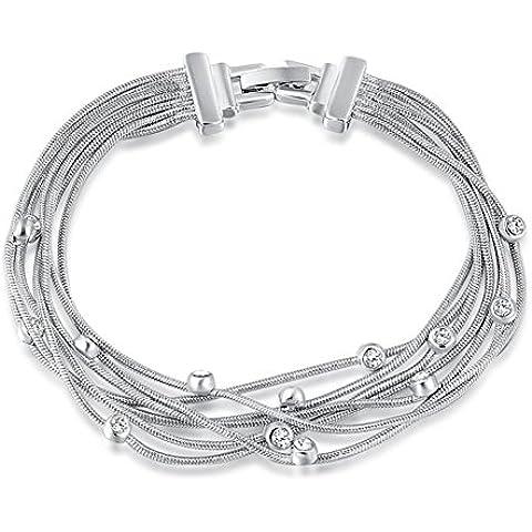 Bling Jewelry Donna Platino/placcato oro rosa cristalli intarsiato 19,2cm Clip-on mano catena