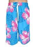 Herren Bermudas, Shorts, Kurze Hose, Badeshorts 'Blumen', Hellblau-Pink, AM-HE-Ber-E&F-G-018-hbl-pink, Größe:M=48